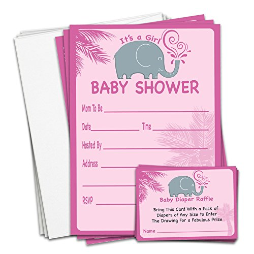 Braindango 25 Pack Pink Girl Elephant Baby Shower Invitations With Envelopes | Bonus Diaper Raffle Tickets | Large 5x7 Thick Easy-Write Card Stock | Sprinkle Wedding Bridal (Sprinkles Elephant)