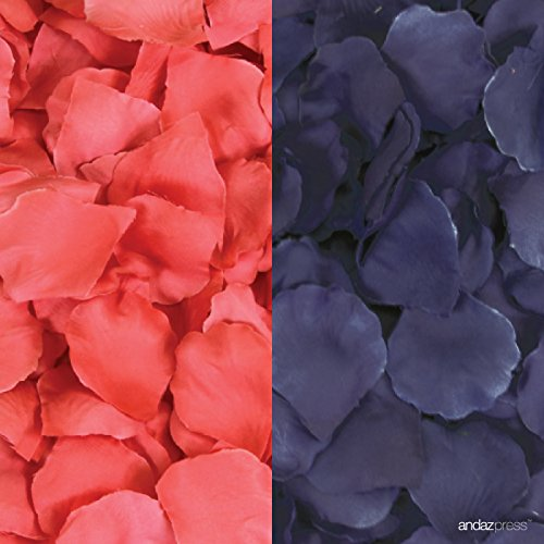 (Andaz Press Silk Fabric Rose Petals Table Decorations, Coral, Navy Blue, 400-Pack, Colored Nautical Ocean Wedding Baby Bridal Shower Party Supplies)