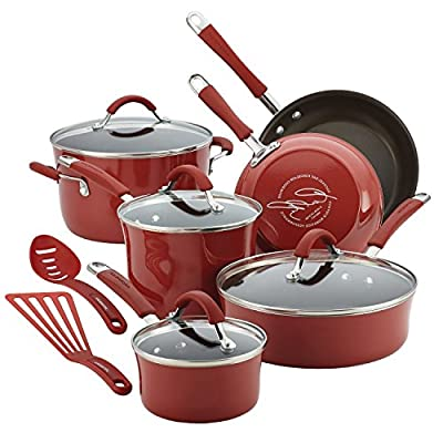 Premium 12 Piece Cookware Set RACHEAL RAY Nonstick Hard Porcelain Enamel, Cranberry Red, Glass Lid, Food Network Featured