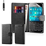 32nd® Book wallet PU leather flip case cover for BlackBerry Classic Q20 - Black
