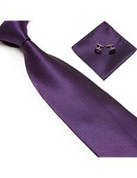 Men's Solid Plaid Wide Neck Tie Set Hanky Cufflink