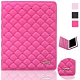 quilted case ipad air - iPad Air Case - Bestwo Quilted Premium PU Leather Embroidered Hearts Design Cover for Apple iPad Air 2014 Model - Rose Red