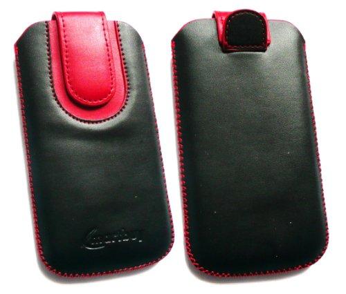 Emartbuy® Apple Iphone 5 5s Schwarz / Rot Premium-Pu-Leder Slide In Pouch / Case / Sleeve / Holder (Größe X-Large) Mit Pull Tab Mechanismus Und Lcd Displayschutzfolie