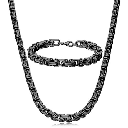 MOWOM Black 8mm Wide Stainless Steel Necklace Bracelet Link Byzantine Chain Set