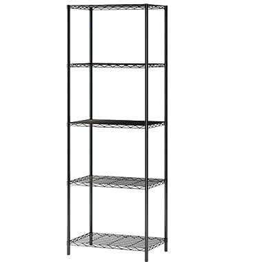 "Home-Like 5-Tier Wire Shelving Metal Shelf Storage Rack Multipurpose Shelf Display Rack Freestanding Organizer Shelf 21""W x 14"" D x 61""H (5-Tier, Black)"