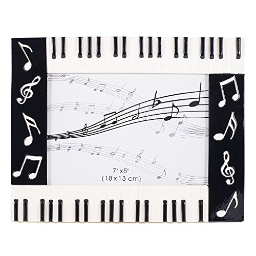 Broadway Gift Piano Keyboard Musical Notes Treble Clef Decorative 5x7 Picture Frame,Multicolor ()