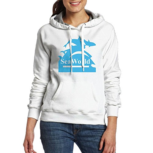 QTHOO Women's Long Sleeve Seaworld Logo Hooded Sweatshirt With Pocket by QTHOO