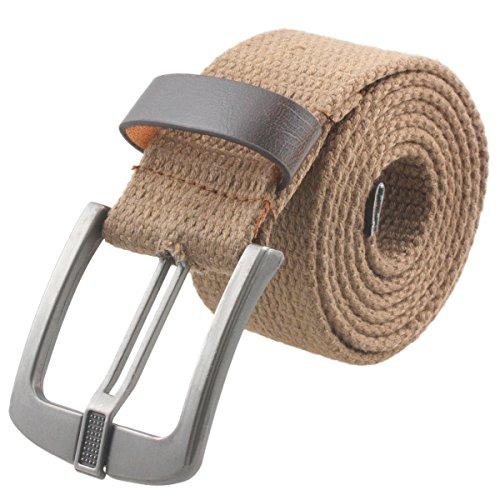 Samtree Canvas Web Belts for Women Men,Adjustable Multi-color Hole Buckle Belt (Khaki) - Ladies Canvas Belts