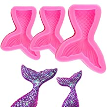 Mermaid Tail Silicone Fondant Cake Molds, IHUIXINHE Non-stick Chocolate, Jelly, Candy Mold, Cupcake Decoration Tool, Large + Small, Set of 3