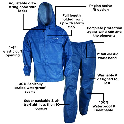 Fishing Apparel. You will never know exactly what to anticipate weather-wise unless you inspect it initially. COMPASS EL12104-21-XX Eco-Lite Rain Suit with Bag, Blue