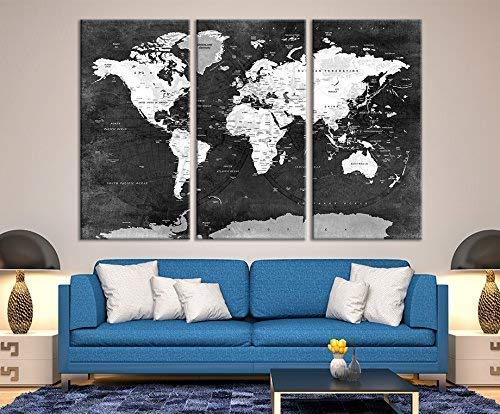 (Black World Map Push Pin Wall Art by Sami Eymur | 3 Piece Multi Panel X-Large Hanging Canvas Print for Home Decor | Mark Your Travels with Old Vintage Map | Framed & Ready to Hang)