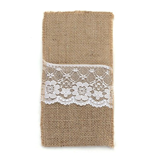 vLoveLife 4x8.5 Inch Natural Hessian Burlap Cutlery Holder Pouch Bag with Lace Rose Flower Wedding Tableware Bags Favor , Pack Of 10]()