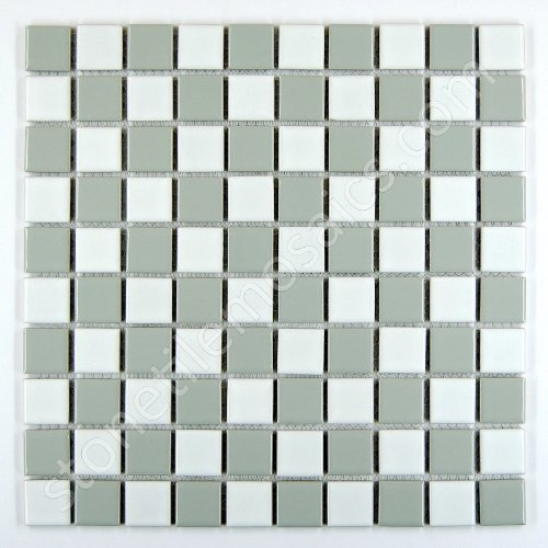 - Vogue Square Checkered Tile Grey & White Porcelain Mosaic Shiny Look Designed in Italy (Box of 5 sq. ft.)