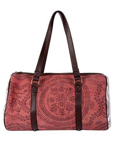 Cru sac Bloc en coton imprimé floral Marsala Duffel par Rajrang