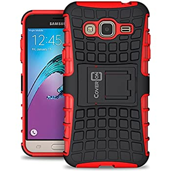 Samsung Galaxy Express Prime Case, Galaxy Sky Case, Galaxy Amp Prime Case, CoverON [Atomic Series] Hybrid Armor Cover Tough Hard Kickstand Phone Case for Samsung Galaxy Express Prime - Red