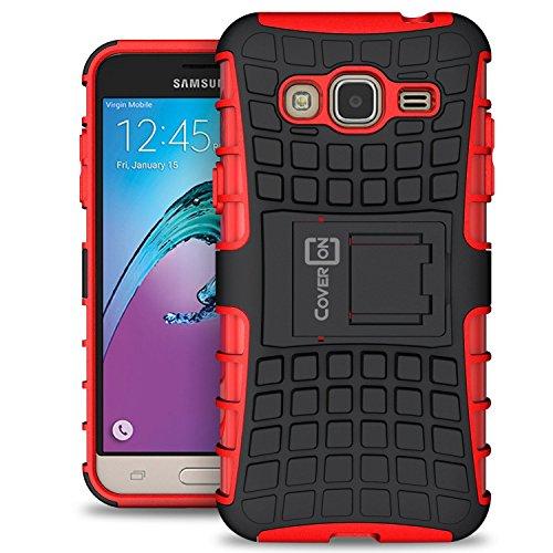 Samsung Galaxy Express Prime Case, Galaxy Sky Case, Galaxy Amp Prime Case, CoverON [Atomic Series] Hybrid Armor Cover Tough Hard Kickstand Phone Case for Samsung Galaxy Express Prime - Red