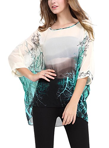 DJT Womens Batwing Sleeve Round Neck Flower Semi Sheer Top One Size Apricot-Green
