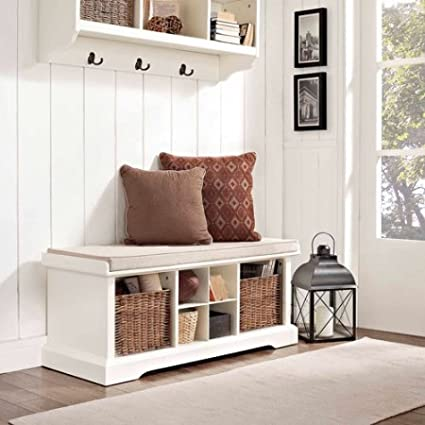 Entryway Storage Wood Bench With Full Size Cushion, Cubbies, 2 Wicker  Baskets, Storage