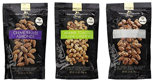 (Squirrel Brand Variety Nut Bundle: Caramel Toasted Colada Cashews, Salted Caramel Pecans, Creme Brûlée Almonds - 3.5 oz Each)