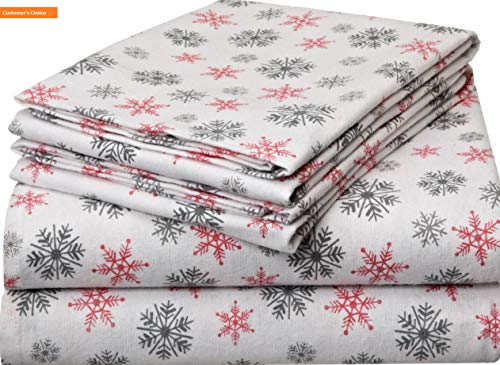(Mikash New Soft Heavy Weight Printed Flannel Sheet Set, King, Snow Flakes White | Style 84600284)