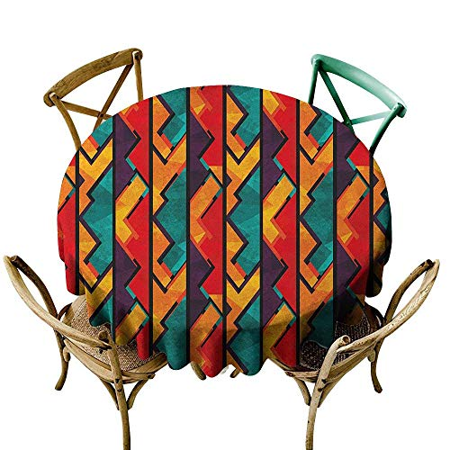 The pattern round table cloth 36 inch Grunge,African Geometric Pattern Ancient Antique Design Elements Mosaic Style Art, Teal Vermilion Plum Printed Indoor Outdoor Camping Picnic Circle Table Cloth