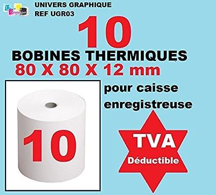 10 bobinas del cajón de 80 x 80x 12 mm de papel térmico para cajas registradoras Rollo de papel térmico