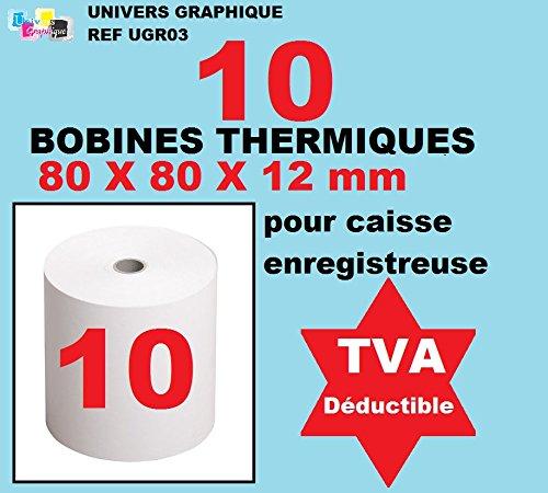 Set di 10 –  Bobina Carta Termica, 80 x 80 x 12 mm, lotto di 10 rotoli termica 80 x 80 x 12 per scontrino di installazione –  Bobine di carta termici per stampante di biglietti d
