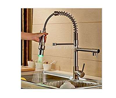 PST@ LED Light Pull Down Kitchen Sink Faucet Single Handle Dual Spout Spring Kitchen Mixer Taps Brushed Nickel