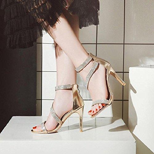 Open a signore strass moda con bene YMFIE sandali moda tacco alti sexy toe estate i Golden alto con temperamento scarpe tacchi dBTqS