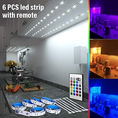 RGB Under Cabinet Lighting, 6 PCS x 19.6In LED Strip Lights, 5050 LEDs Color Changing Lights with Remote and Power Supply, Home Decor Mood Lighting kit DIY Kitchen, Cupboard, Desk, TV, Shelf