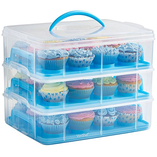 VonShef Snap and Stack Blue 3 Tier Cupcake Holder & Cake Carrier Container - Store up to 36 Cupcakes or 3 Large Cakes (Cupcake Tray)