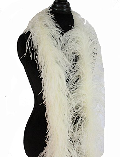 - 3ply Ostrich Feather Boas, Over 20 Colors to Pick Up (Cream Yellow) 9O52
