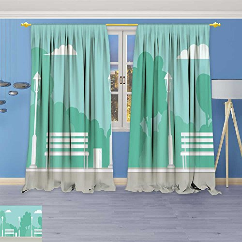 SOCOMIMI Blackout Room Darkening Curtains Public Park Background City Park with Bench and Park Window Panel Drapes Grommet Top 72W x 72L inch