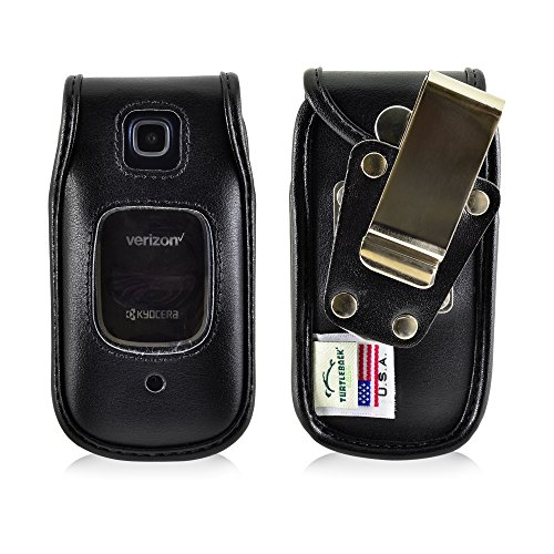 Turtleback Fitted Case for Kyocera Cadence Black Flip Phone Black Leather Rotating Removable Metal Belt Clip - Made in USA