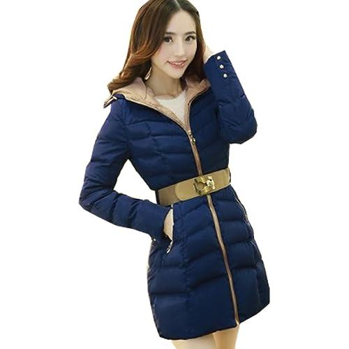 WTUS Abrigo con capucha de invierno eleganta para mujer