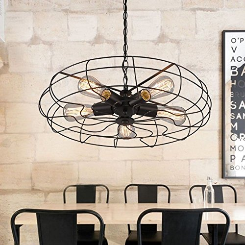 Cheap BAYCHEER HL416586 Industrial Vintage Wrought Iron Semi Flush Mount Ceiling Light Chandelier Metal Hanging Fixture with 5 Lights, Black