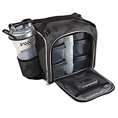 Fit & Fresh Jaxx FitPak Meal Prep Bag with Leakproof Portion Control Container Set and Shaker Cup, Pack Healthy Meals All Day
