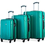 Merax Luggage 3 Piece Set P.E.T Luggage Spinner Suitcase Lightweight 20 24 28inch (Emerald)