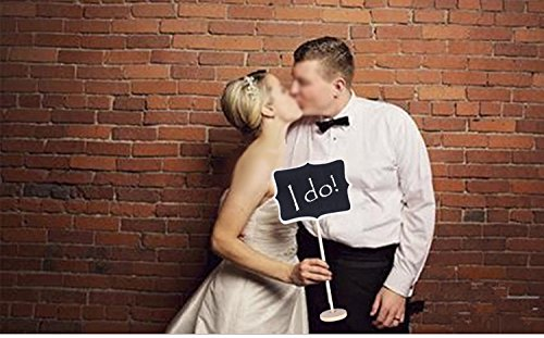 Juvale Vintage Photo Booth Props/Wedding Party Table Number Place Card Chalkboard/Blackboard Stand - 9 Piece Set - Lrg 6.5 x 14 Med 5.9 x 12 Sml 3.3 x 6.5 inches by Juvale (Image #3)