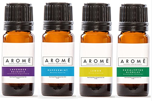 Aromë ESSENTIAL OIL DISCOVERY KIT: LAVENDER, EUCALYPTUS, PEPPERMINT & LEMON (4-PACK), 100% Pure Essential Oil, Undiluted, Therapeutic Grade Essential Oil by Aromë