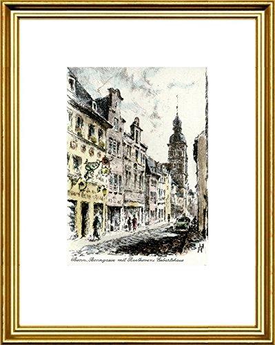 Hand-colored hand-crafted etching Bonn, Beethovens Geburtsha