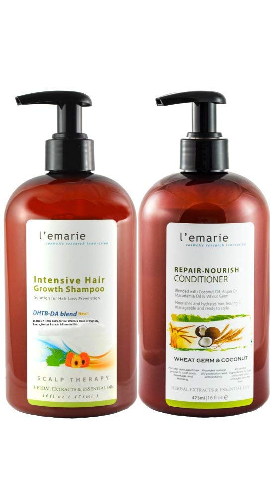 L'emarie Hair Growth and Hair Loss Shampoo and Conditioner With Moroccan Argan Oil, Biotin, Caffeine + Anti Dandruff for Thicker Fuller Longer Healthier Hair for Men and Women (2 x 16 Oz) by L'emarie