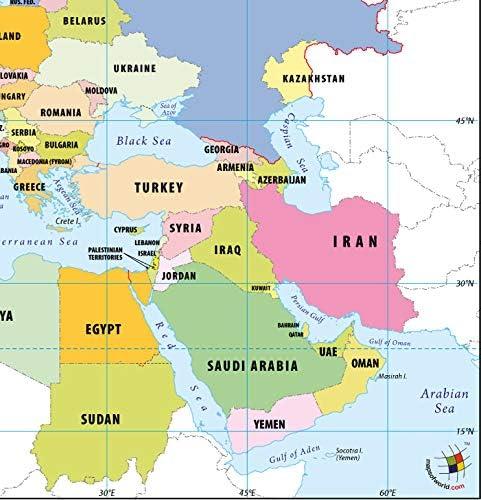 Cartina Europa E Medio Oriente.Europa Nord Africa E Medio Oriente Mappa Laminato 91 4 Cm W X 91 4 Cm H Amazon It Cancelleria E Prodotti Per Ufficio