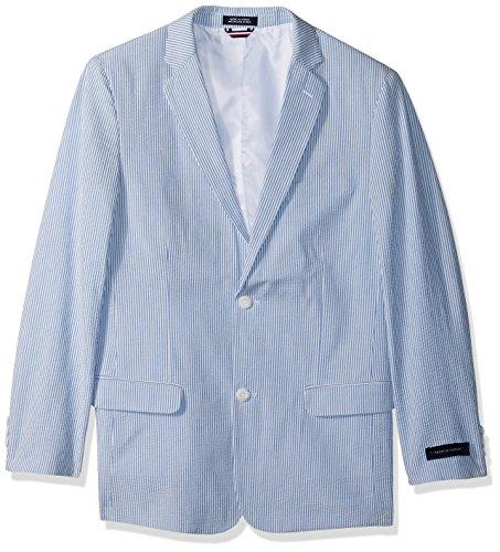 Tommy Hilfiger Boys' Big Seersucker Blazer Jacket, Regatta Blue, 18 ()