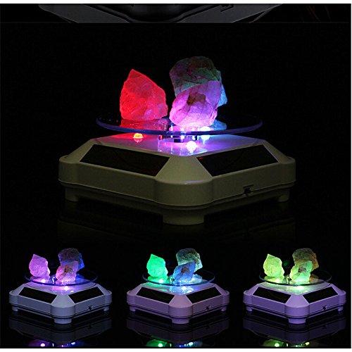 Funciona con energía solar rotación de 360grados soporte de, soporte de visualización con luz LED colorida para joyería...