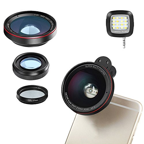 TEQStone Universal Phone Camera Lens, Professional HD Camera Lens for most Smartphones with 0.6X Super Wide Angle Lens , 15X Macro Lens and CPL Filter, 3 in 1 Cellphone Camera Lens Attachment by TEQStone