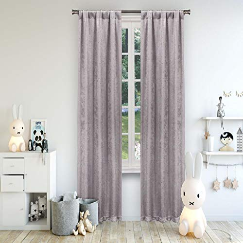 - Lala + Bash Danielle Metallic Blackout Darkening Pole Top Window Curtains Pair Drapes for Bedroom, Living Room-Set of 2 Panels, 38 X 84, Lavender