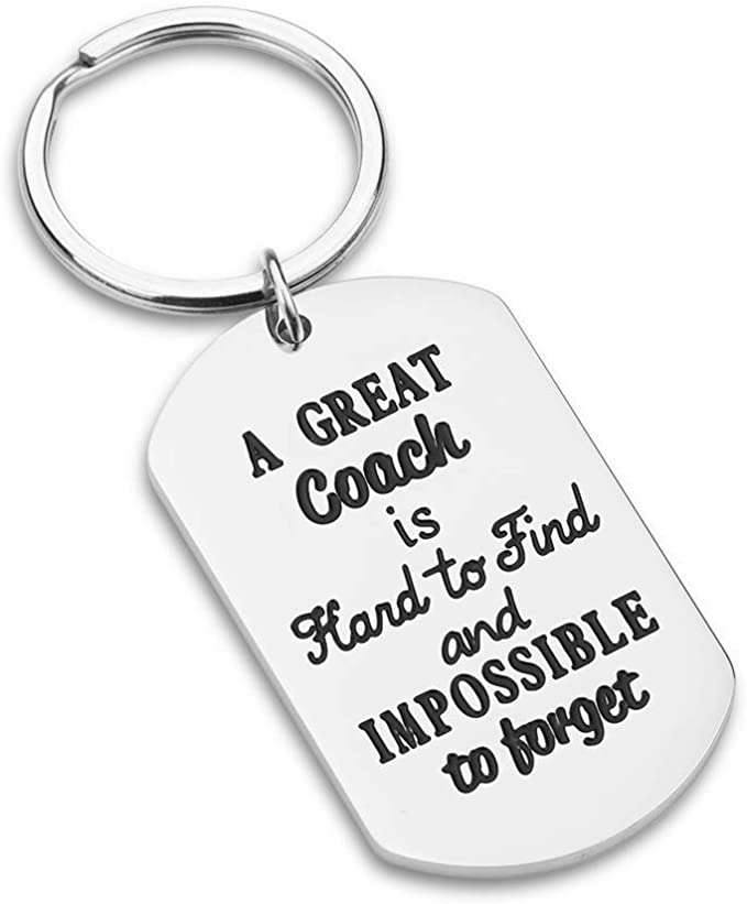 Coach Keychain Sports Gifts for Men Woman Boys Football Basketball Baseball Swimming Soccer a Great Coach is Hard to Find and Impossible to Forget Birthday Match Cheer Key Ring