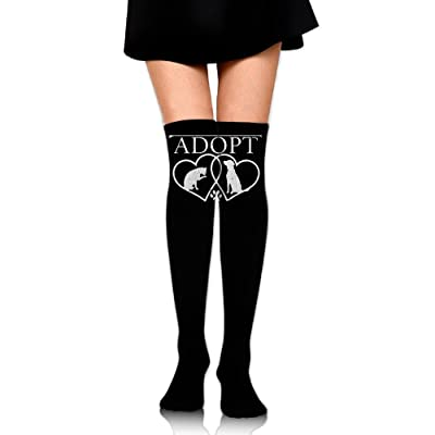 WRE8577 Women's Knee High Compression Thigh High Socks Dog Cat Adopt Love For Soccer Sport Long Stockings