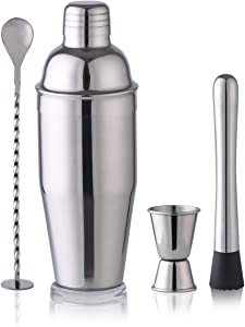 24oz Shaker Bartender Set Cocktail Shaker Stainless Steel Martini Shaker, Mixing Spoon, Muddler, Double Measuring Jigger (set of 4)